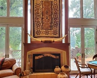 Authentic Navajo Rug and Large Steer Horns