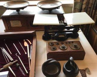 Pottery ~vintage scales and weights