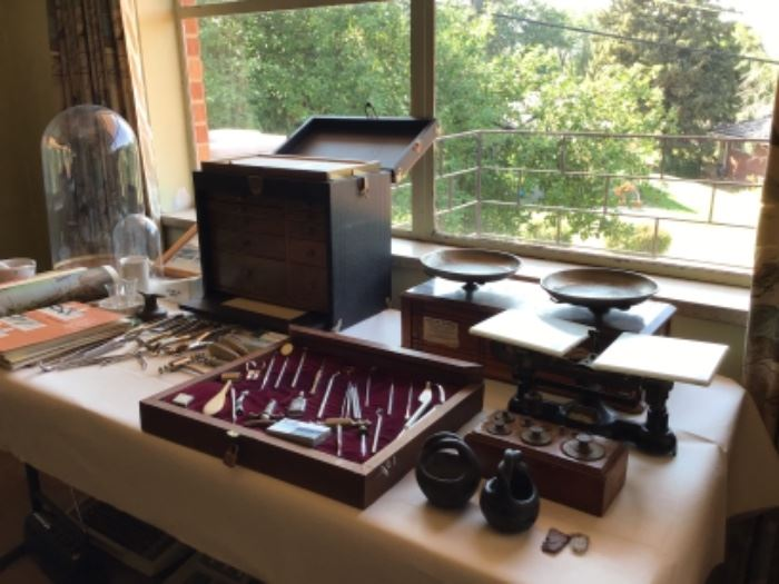 Vintage dental cabinet tools scales