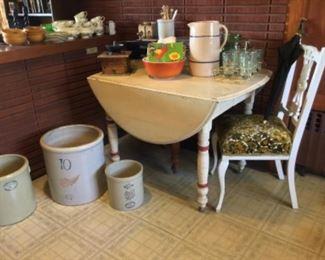 Crocks ~ kitchen table~coffee grinder~cake plate~Misc vintage kitchen items