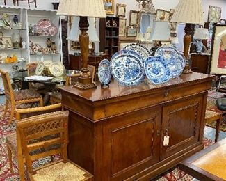 Reproduction cherry wood sideboard.
