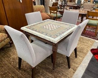 Stunning marble and stone top games table