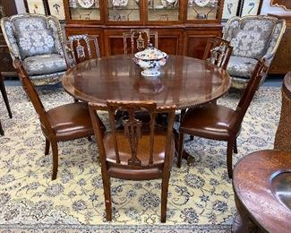 Set of six Theodore Alexander dining chairs,Federal Style Bird Cage Pedestal Round Dining Table, pair of Marge Carson easy chairs