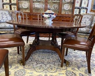 Federal Style Bird Cage Pedestal Round Dining Table.