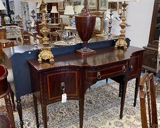 Antique 19th c. mahogany sideboard. Pair of gilt wood candlestick lamps, Antique knife box.