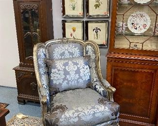 Pair of Marge Carson silver leaved easy chairs