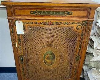 Adams style caned front cabinet