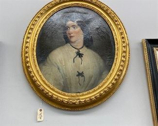 Antique oval portrait of a lady