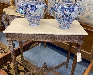 Pair of Delft urns with dragon handles