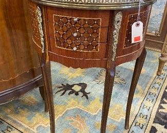 Italian inlaid demi lune cabinet.