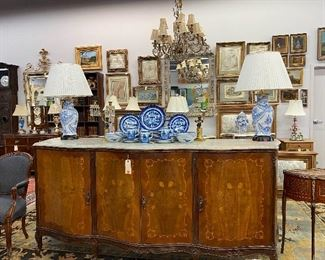 Large French Marble top sideboard.