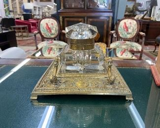 Antique brass ink well