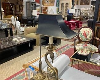 Stunning brass swan lamp with tole shade