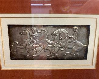 Ilias Lalaqunis (Greek, 20th Century,Jeweler) 4 stamped metal framed artworks