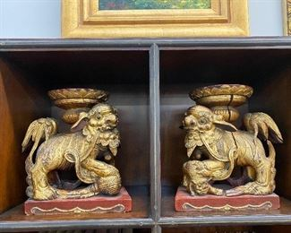 Giltwood Chinese Foo Dogs