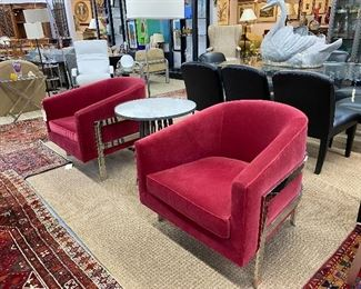 Pair of Mitchell Gold + Bob Williams chrome and velvet club chairs.