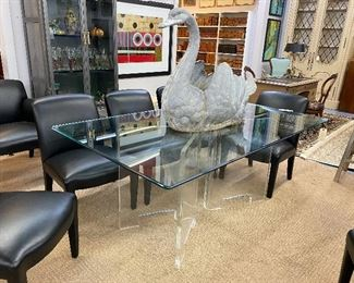 Karl Springer glass top dining table on lucite supports
