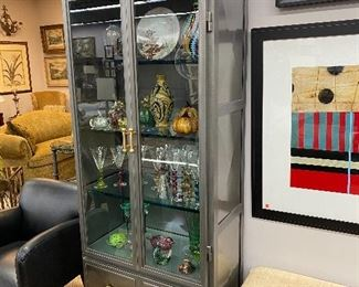Contemporary post modern metal display cabinet.