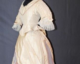 TWO-PIECE BUSTLE DRESS, TRAINED 1870s
