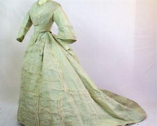 OLIVE GREEN SATIN CIVIL WAR RECEPTION GOWN 1860s