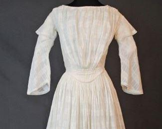 COTTON DAY DRESS, REGENCY FAN PLEATED FRONT 1840s