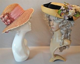 EARLY 1900s EDWARDIAN STRAW LADIES HATS LOT OF 2