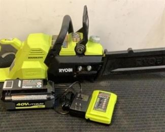 """Located in: Chattanooga, TN MFG Ryobi Model RY40503 Ser# EU21156D230673 40V 14"""" Cordless Chain Saw Tested Works *Battery And Charger Included* **Sold As Is Where Is**"""