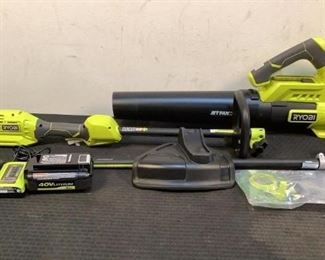 """Located in: Chattanooga, TN MFG Ryobi 40V Cordless 15"""" Trimmer & Blower Tested- Works Battery & Charger Included 15"""" String Trimmer Jet Fan Blower **Sold As Is Where Is**"""