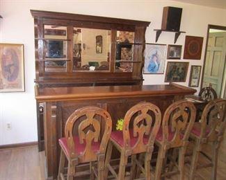 Beautiful 1930-40's Oak bar from Ganger of NYC
