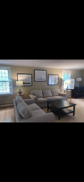 Living room sofas, coffee table, lamps, small corner tables.