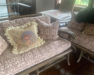 Rattan wicker seating, Florida room furniture