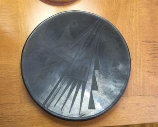 "San Il de Fonzo Black Pottery Plate  $600 (bids accepted) 10 1/4"" diameter.  Marked ""Gonita""?"