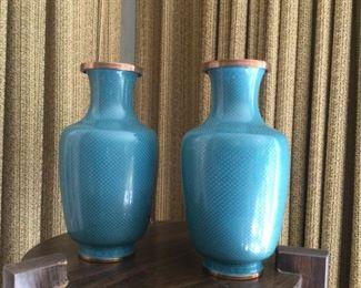 "Pair Blue/Green Cloissone Vases - marked ""China"""