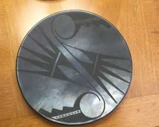 """San Il de Fonzo Black Pottery Plate  $600  (bids accepted) 9 3/4"""" marked """"Marie"""" has small crack"""