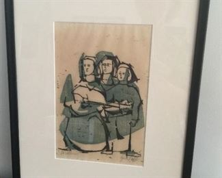 Contempory Wood Cut signed Gail Leff   $150