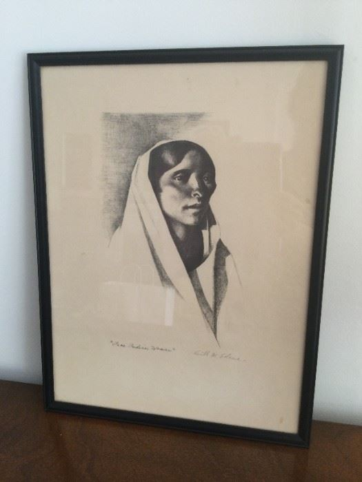 """Kenneth M Adams """"Taos Indian Woman"""" Lithograph  $200"""