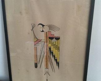 Southwest American Indian School Bird Watercolor  $150