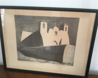 """Kenneth M. Adams Lithograph """" ranches de Taos Church - Moonlight"""". $125.00"""