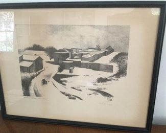 """Kenneth M. Adams Lithograph. """"New Mexico Village under Snow"""". $125.00"""
