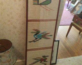 Vintage Ecuadorian Framed Wall Hanging - 3 Birds.  $175.00