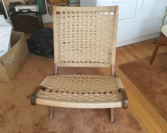 1960's Hans Werner Style Folding Rope Chair
