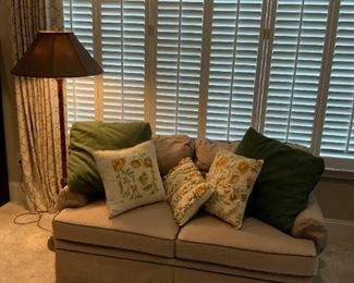 Beige and Green Loveseat