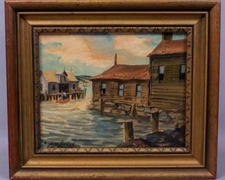 Henry M Gasser Casein Ptg New England Waterfront Scene