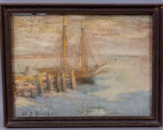 William Partridge Burpee Seascape Pastel Painting