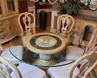 Dining Room Table with 6 Chairs and Rug