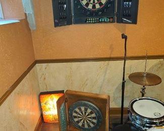 Electronic Wall Dartboard, Standard Cabinet Dartboard, Cptn Morgan Wall Light, Billiard Shot Glasses