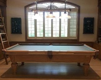 """Olhausen San Diego Pool Table, Rack & Accessories  for $2500. The table measures 9'2"""" long by 4'11"""" wide by 2'8"""" tall."""