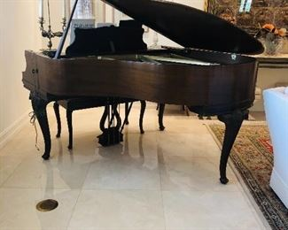 """Mason & Hamlin Grand Piano with Bench """" Tension Resonator"""" B74438.   It measures 5'3"""" long by 4' 11"""" wide by 3' 5"""" high."""