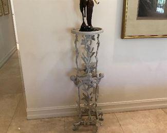 "Twig & Bird Pedastal  and Original Erte Bronze Sculpture ""Woman and Satyr"""