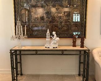 Kalaga Tapestry, Console table, Ceramic woman with bird cage, single crystal candelabra and pr. of carved wood Chinese figures